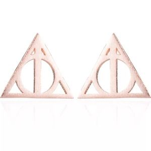 Rose Gold Toned Deathly Hallows Earrings